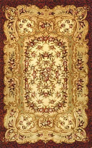 Savonnerie - Gold / Burgundy Rug : Persian Tufted
