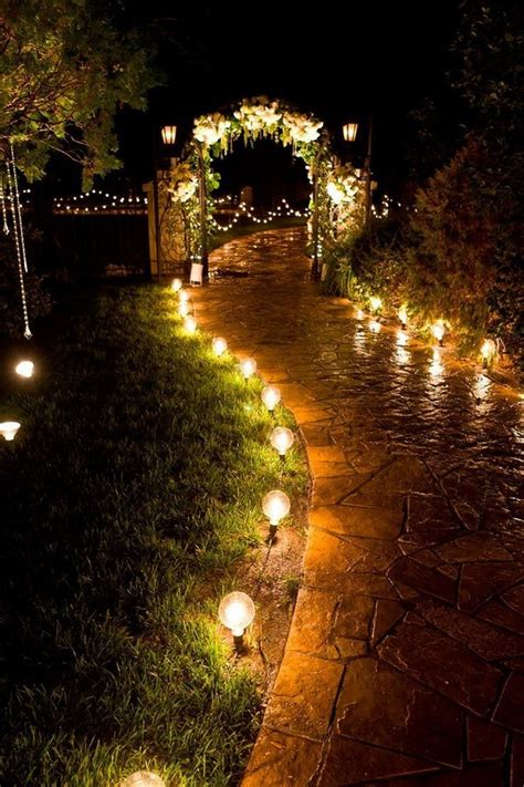 22 Night Wedding Ceremony Aisles and Backdrops With Lights
