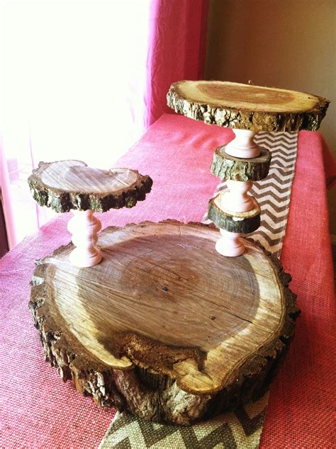 Three tier cupcake stand made out of wood slices and