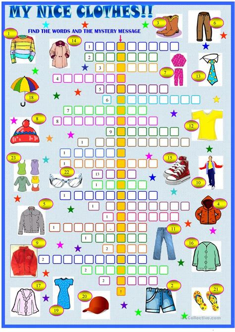 Clothes and accessories : crossword puzzle worksheet
