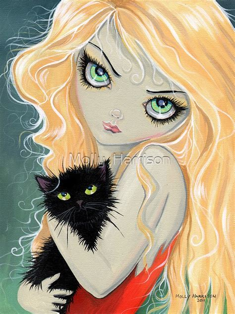 """""""Big Eye Blonde Girl with Black Cat by Molly Harrison"""" by"""