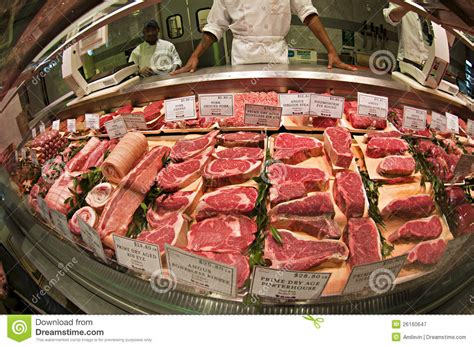 Meat stand editorial photography