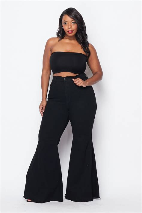 Plus Size High Waisted Super Flare Bell Bottoms Jeans